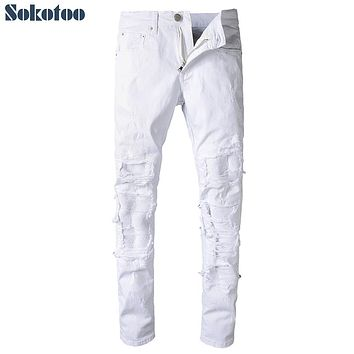 Sokotoo Men's white pleated ripped biker jeans for moto Casual patchwork stretch denim pants Long trousers