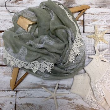 STARFISH lace floral infinity scarf -sage