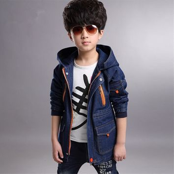 Trendy Autumn 2018 new boys denim jacket spring and autumn baby clothes and long sections coat big boy child coat tide AT_94_13