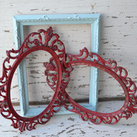 Frames lot of 3 red light blue distressed home decor wall hangings