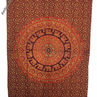 "Amitus Exports 1 X Elephant Round Dome Orange Maroon Color 85""x56"" Approx. Inches Twin Size Cotton Fabric Multi-Purpose Handmade Tapestry Hippy Indian Mandala Throws Bohemian Tapestries"