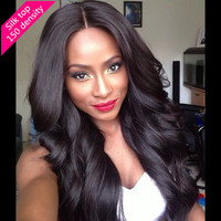 2016 mongolian silk top full lace wigs with natural hairline wave Glueless human hair wig for women FREE SHIPPING