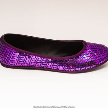 Sequin Grape Purple Slipper Ballet Flats Sparkle Shoes