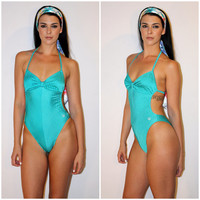 Vintage Christian DIOR Swimsuit, One Piece CUT OUT Bathing Suit, Teal Ribbed Resort Wear Halter Sexy Beachwear