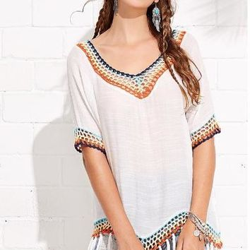 White Fringe Hem Hollow Out Cover Up