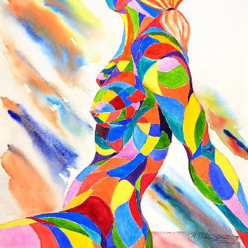 Original Abstract Mosaic Woman Watercolor Painting : Rainbow's Song- Melody of Light, 15in. x 22 in. on WC Paper