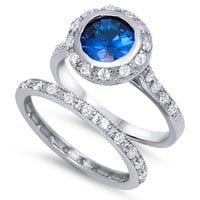 Sterling Silver CZ 2 carat Brilliant Round Cut Halo Blue Sapphire Eternity Wedding Ring Set 5-10