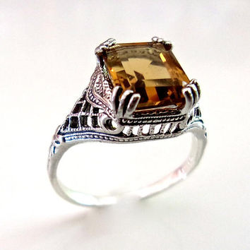 Whiskey Quartz Sterling Silver Filigree Ring, Art Deco 4ct Emerald Cut, Vintage sz 8.5
