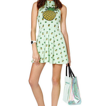 Print Pineapple One Piece Dress [9052176516]