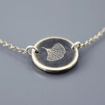 Ginkgo Leaf Necklace Etched Sterling Silver MADE by lisahopkins