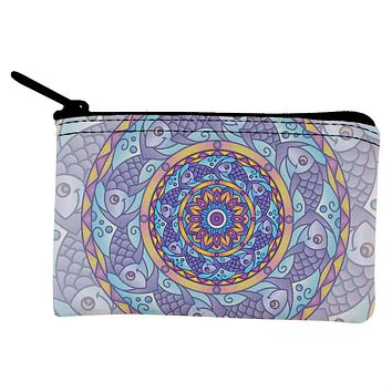 Mandala Trippy Stained Glass Fish Coin Purse