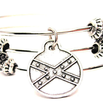 Confederate Flag Circle Triple Style Expandable Bangle Bracelet