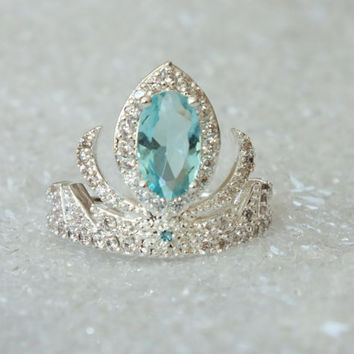Elsa Silver Frozen Tiara Princess Ring Anna Frozen Crown Crystal Aquamarine