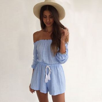 Blue Loose Strapless Drawstring Romper