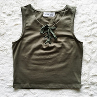 A Lace Up Crop in Olive