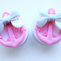 "PAIR Baby Pink Anchor With White Bow Nautical Double Flared Acrylic Ear Plugs / Gauges -  24mm (15/16"") , 26mm, 28mm (1 1/16"")"