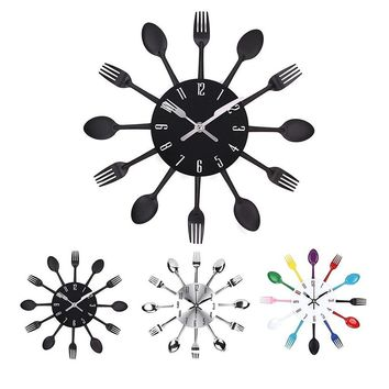 Cutlery Design Kitchen Wall Clock Multicolor Metal Fork Spoon Clocks for Home Living Room Decoration