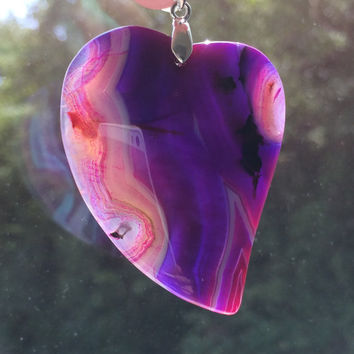 Purple Onyx Agate Heart Necklace Gemstone Pendant Protection Necklace Girlfriend Necklace Agate Necklace Statement necklace Large Necklace