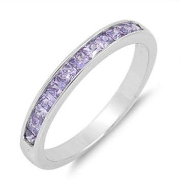 Sterling Silver Amethyst Purple CZ Princess Cut Wedding Band Ring size 5-10