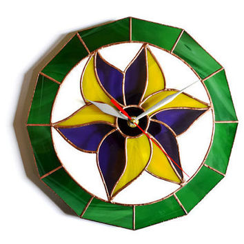 Unique Wall Clock with Flower Lily Motives in Retro style made in stained glass in golden yellow, purple and green