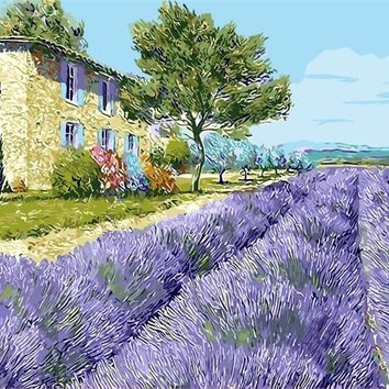Landscape lavender flower ocean of bloom Home Decor Painting pictures By Numbers Handwork Draw On Canvas Living Room Wall Art