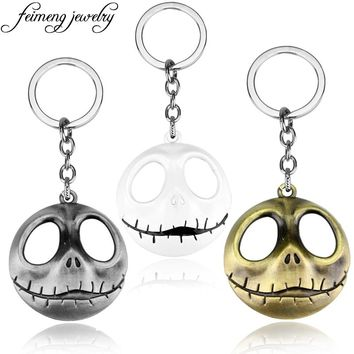 Popular Movie The Nightmare Before Christmas Key chain 3 Colors Jack Skull Keychain Fashion Metal Pendant Keyring For Key Holder