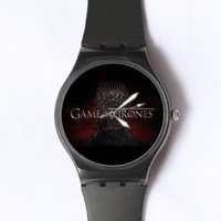 Custom Game of Thrones Watches Classic Black Plastic Watch WT-0823