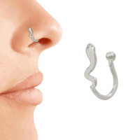 14kt Gold Filled or 925 Sterling Silver Hammered Squiggle Fake Nose Ring Nose Clip Fake Body Jewelry Non Pierced/No Piercing Nose Ring