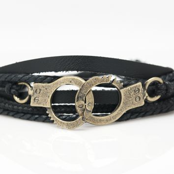 Handcuffs Rope and Leather Adjustable Unisex Charm Bracelet
