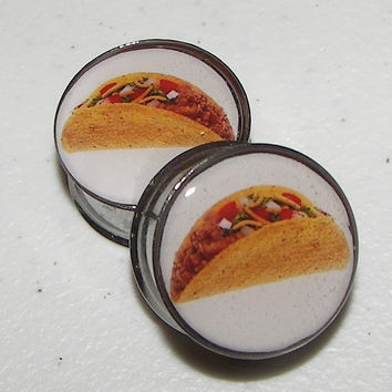 "Crunchy Taco Plugs - 1 Pair - Sizes 2g, 0g, 00g, 7/16"", 1/2"", 9/16"", 5/8"", 3/4"", 7/8"" & 1"""
