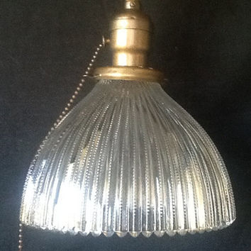 Vintage Holophane Pendant Light Fixture 1920s Rewired Industrial