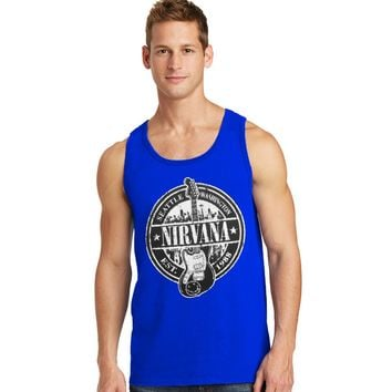 NIRVANA ELECTRIC GUITAR LOGO ROCK AND ROLL MEN'S BLUE GRAPHIC TANK TOP