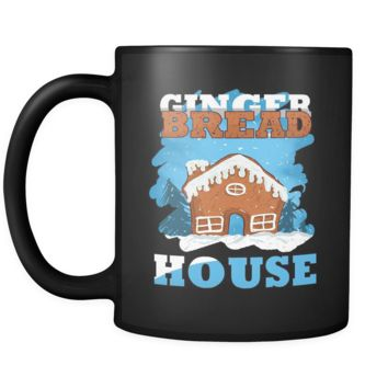 Gingerbread House Christmas Black 11oz mug
