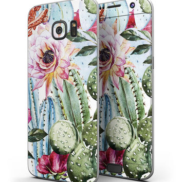 Vintage Watercolor Cactus Bloom - Full Body Skin-Kit for the Samsung Galaxy S7 or S7 Edge