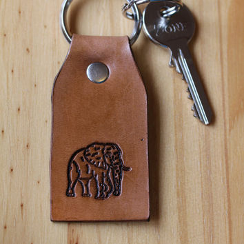 African Elephant Keychain, Handcrafted Leather Key Fob, African Elephant Keyring, Leather Key Chain, Elephant Key Fob, Handmade Keychain