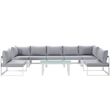 Fortuna 8 Piece Outdoor Patio Sectional Sofa Set White Gray EEI-1730-WHI-GRY-SE