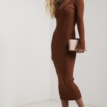 AKIRA Off Shoulder V Neck Ribbed Knit Bodycon Long Sleeve Midi Dress in Black, Rust, Cream