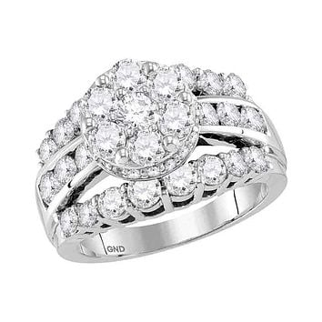 14kt White Gold Women's Round Diamond Flower Cluster Bridal Wedding Engagement Ring 3-1/4 Cttw - FREE Shipping (US/CAN)