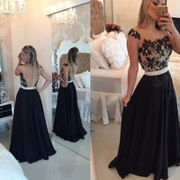 Applique Black Prom Dresses,Lace Tulle Long Prom Dress