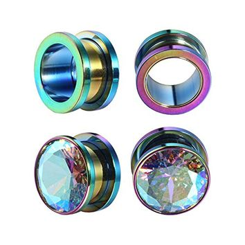 BodyJ4You 2 Pairs Surgical Steel Screw-Fit Tunnel Rainbow and Plain Plugs 00G (10mm) Gauges