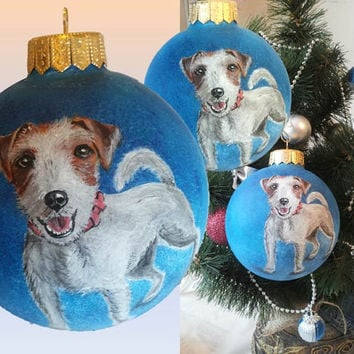 PERSONALIZED Christmas ball Pet Portrait Terrier Dog Christmas Ornaments Jack Russell Terrier Hand painted Glass Craft Gift CUSTOM ORDER