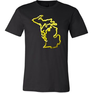 Love Michigan State Flag Map Outline Souvenir Gift T-shirt