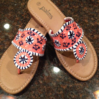 Hand  painted sandals inspired by the style of jack rogers. Coral with navy anchor print.