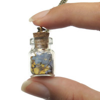 Pressed flower glass vial pendant, Blue Forget-me-nots and yellow dried wild flowers bottle necklace, Beach jewelry, Boho
