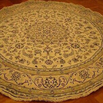 Rug 8' x 8' Ivory Nain Perfect Quality Luxurious Round Wool & Silk Persian Rug