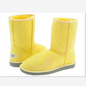 UGG Short boots antiskid warm lazy sheep fur simple ugg boots canister boots Fresh Yellow