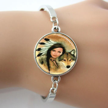 Native American Woman Bracelet Glass Wolf Silver Bangle,Tile Jewelry People Pendant Jewelry,New Hot Gift,1 pc FREE SHIPPING