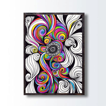 Psychedelic Abstract Art Print, Rainbow Colors Trippy Drawing, Vibrant Art Healing Energy Wall Decor, Psytrance illustration, Hipnotic Art