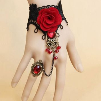 Elegant Gothic Style Lace Red Rose Bracelet Jewellery  Bride Weeding Beads Jewelry