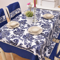 Blue Print Cotton Tablecloth [6283654982]